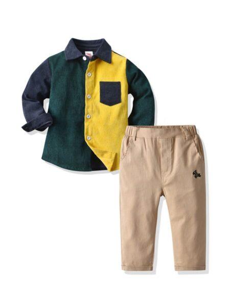 2 Pieces Kid Boy Corduroy Colorblock Shirt Matching Trousers Set BOYS Boys