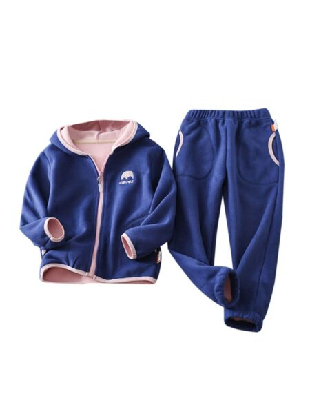 2 Pieces Kid Boy Casual Set Hooded Jacket With Trousers