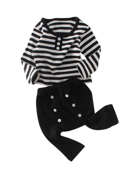 2 Pieces Baby Girl Stripe Set Top And Button Black Trousers