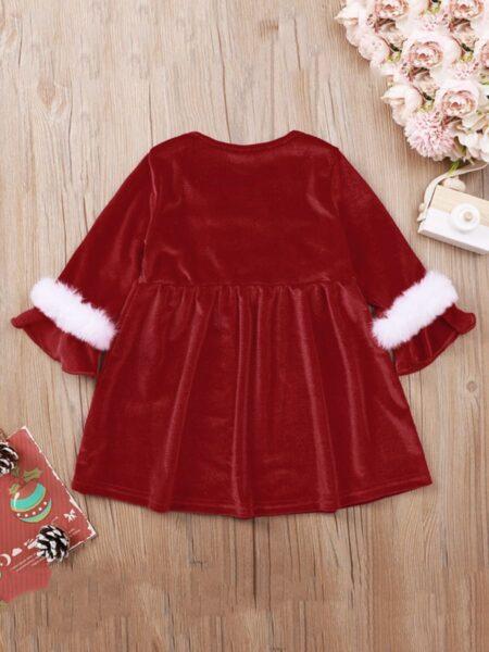 Baby Girl Xmas Ruffle Trim Red Dress