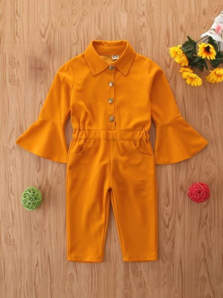 Kid Girl Flared Sleeve Solid Color Jumpsuit ROMPERS & JUMPSUITS Girls