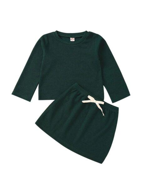 2 Pieces Infant Toddler Girl Solid Color Set Top & Belted Skirt