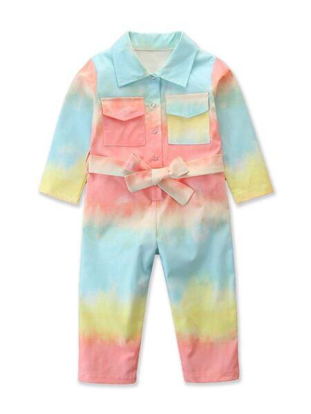 Kid Girl Tie-dye Belted Jumpsuit