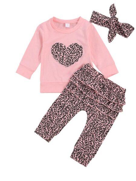 3 Pieces Baby Girl Leopard Set Love Heart Top & Leopard Pants & Headband – Pink