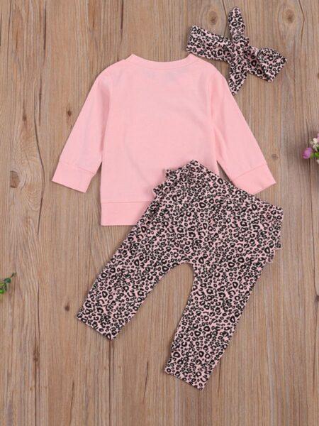 3 Pieces Baby Girl Leopard Set Love Heart Top & Leopard Pants & Headband