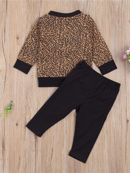 2-pieces Baby Girl Leopard Set Frill Trim Top & Trousers