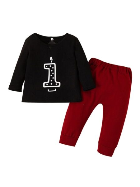 2 Pieces Baby Set Number Top & Trousers