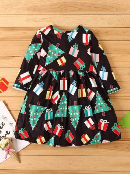 Kid Girl Christmas Print Dress