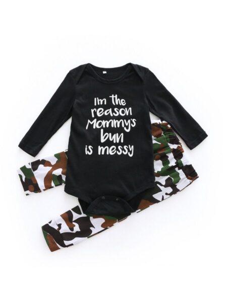 2 Pieces Baby Boy I'm The Reason Mommy's Bun Is Messy Set Bodysuit & Camo Pants