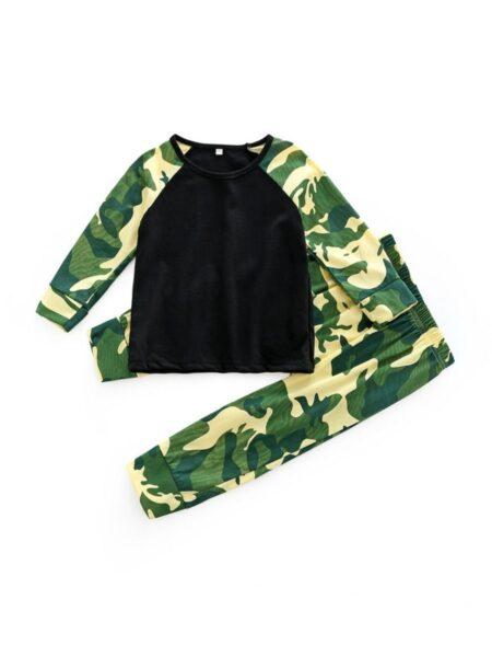 2 Pcs Baby Boy Camouflage Set Top & Pants