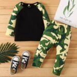 2 Pcs Baby Boy Camouflage Set Top & Pants 4