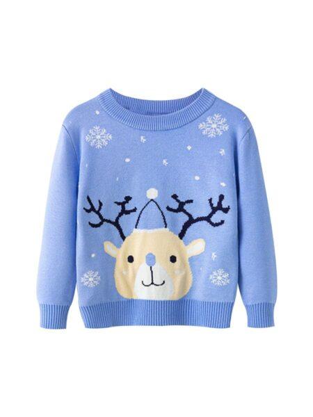 Kid Boy Christmas Deer & Snowflake Sweater – Blue