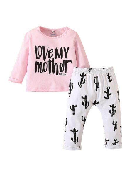2 Pieces Baby Girl Love My Mother Set Top & Cactus Pants