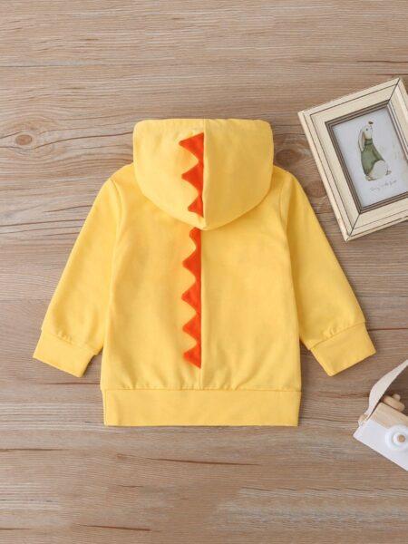 Baby Boy Letter & Dinosaur Yellow Hooded Sweatshirt 2