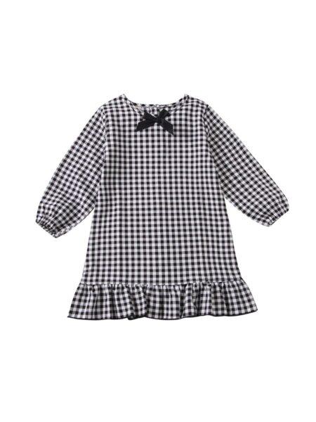 Kid Girl Ruffle Hem Checked Dress