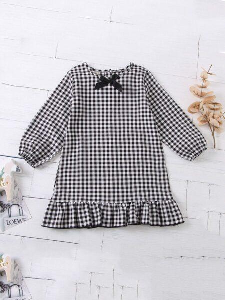 Kid Girl Ruffle Hem Checked Dress 2