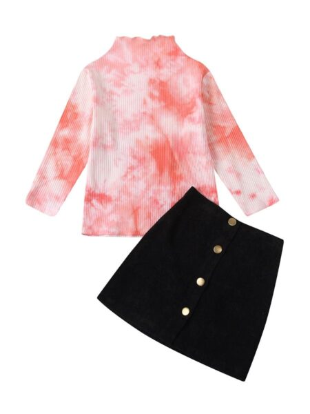 2 Pieces Kid Girl Ribbed Tie Dye Top & Buttoned Skirt Wholesale