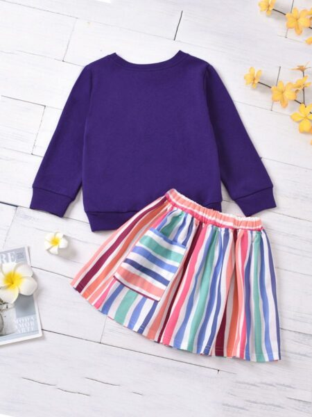 2 Pieces Kid Girl Outfit Letter Sweatshirt & Skirt – Green
