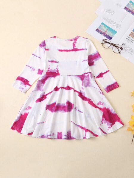 Kid Girl Crew Neck Tie Dye Dress