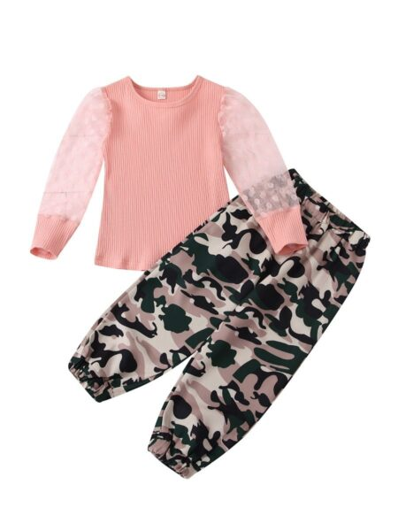 2 Pieces Kid Girl Set Polka Dots Mesh Sleeve Top & Camo Pants