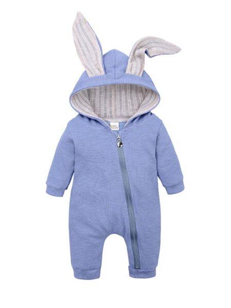 Baby Rabbit Ear Solid Color Hoodie Jumpsuit – Beige