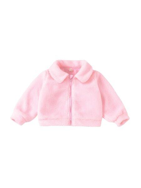 Kid Girl Pink Fleece Coat