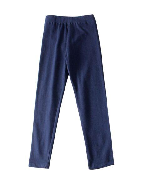 Kid Girl Solid Color Leggings Trousers – Black