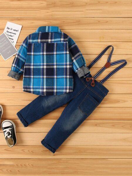 2 Pieces Infant Toddler Boy Set Plaid Shirt & Suspender Jeans BOYS Boys