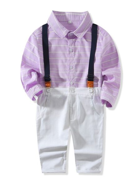 2 Pieces Kid Boy Gentleman Outfit Stripe Shirt & Overall Pants – Blue