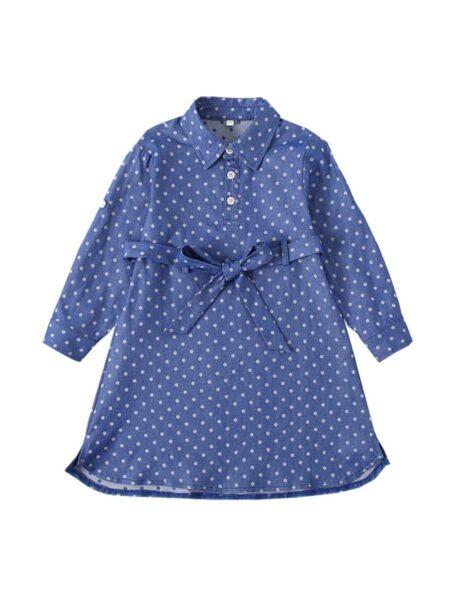Kid Girl Polka Dots Belted Dress