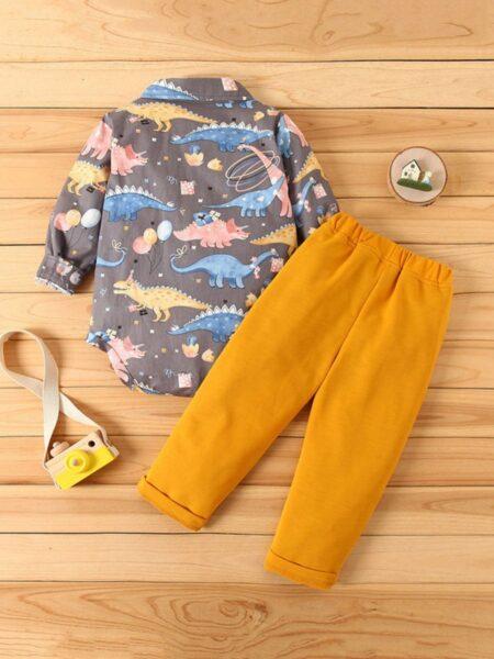 2 Pieces Baby Boy Set Dinosuar Shirt Bodysuit & Pants BOYS Boys