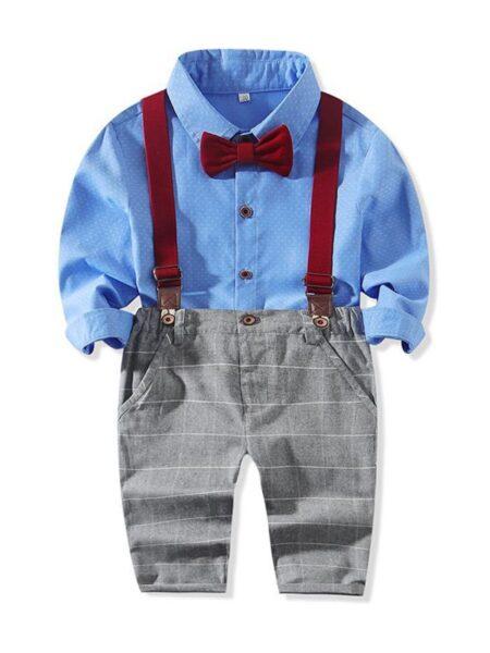 2 Pieces Kid Boy Gentleman Set Polka Dots Bowtie Shirt & Checked Overall Pants