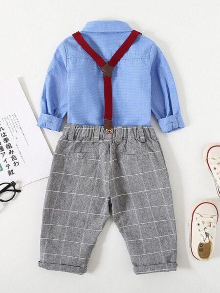 2 Pieces Kid Boy Gentleman Set Polka Dots Bowtie Shirt & Checked Overall Pants 2