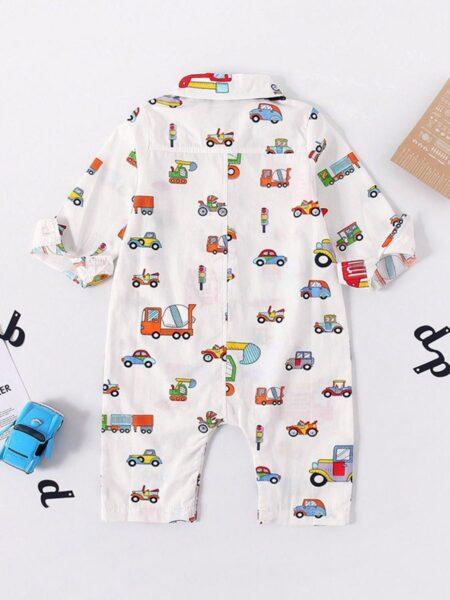 Baby Boy Car Printed Bowtie Jumpsuit