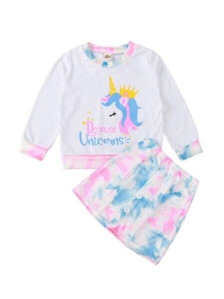 2 Pieces Kid Girl Unicorn Top & Tie Dye Skirt BABIES Girls