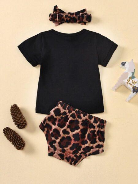 3 Pieces Baby Girl Set Black Tee & Leopard Shorts & Headband BABIES Girls