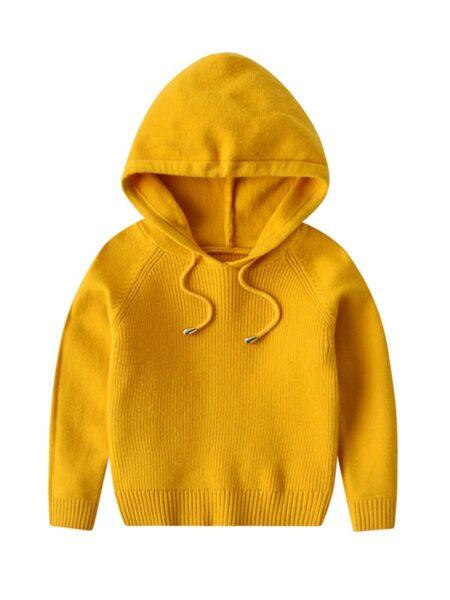 Kid Unisex Plain Knit Hoodie