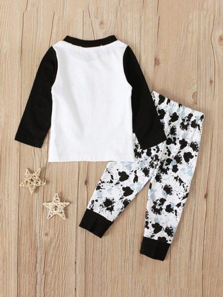 2 Pieces Kid Boy Love Colorblock Top Matching Printed Pants Set Wholesale BABIES Boys