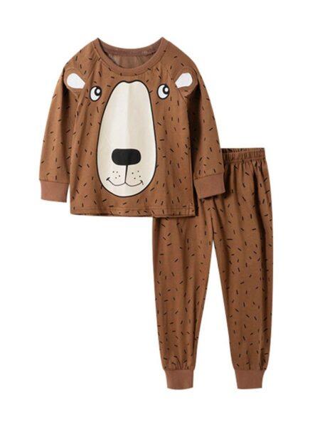 2 Pieces Kid Cartoon Bear Loungewear Set Top Matching Pants Wholesale