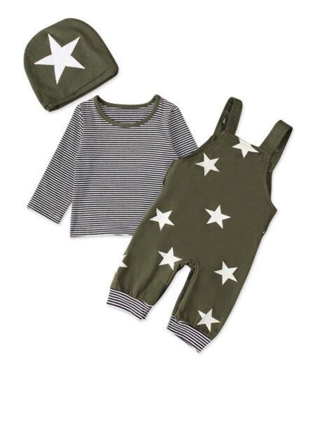 3 Pieces Baby Boy Set Star Top & Stripe Suspender Pants & Hat Wholesale