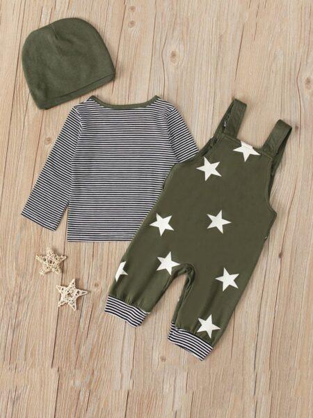 3 Pieces Baby Boy Set Star Top & Stripe Suspender Pants & Hat Wholesale 2