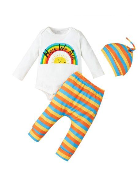 3 Pieces Infant Here We Are Rainbow Stripe Set Bodysuit & Pants & Hat