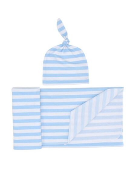 1 Pack Baby Stripe Swaddles Blanket With Hat Set BABIES Unisex