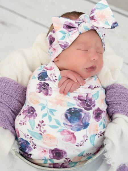 3 Pieces Baby Print Swaddles Blanket & Hat & Headband Set BABIES Unisex