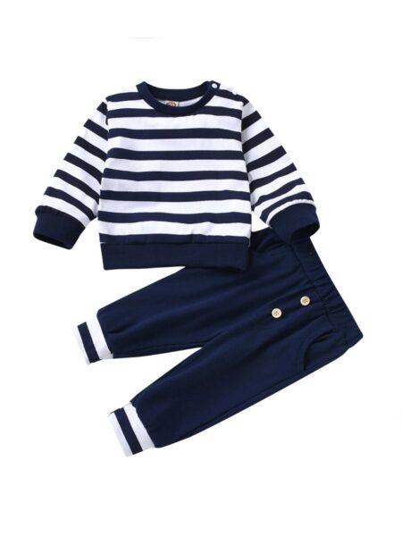 2 PCS Baby Stripe Top Withe Button Pants Set Wholesale