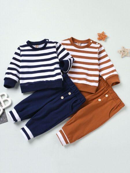 2 PCS Baby Stripe Top Withe Button Pants Set Wholesale 2