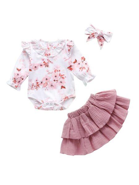 3 Pieces Baby Girl Flower Bodysuit & Muslin Skirt & Headband Set Wholesale