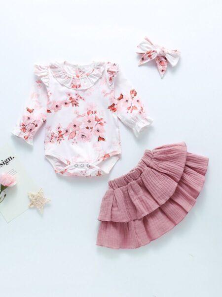 3 Pieces Baby Girl Flower Bodysuit & Muslin Skirt & Headband Set Wholesale 2