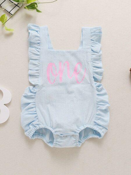 Infant Baby Girl Ruffle Strap Letter Print Bodysuit 2