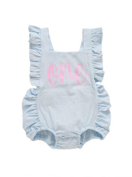 Infant Baby Girl Ruffle Strap Letter Print Bodysuit